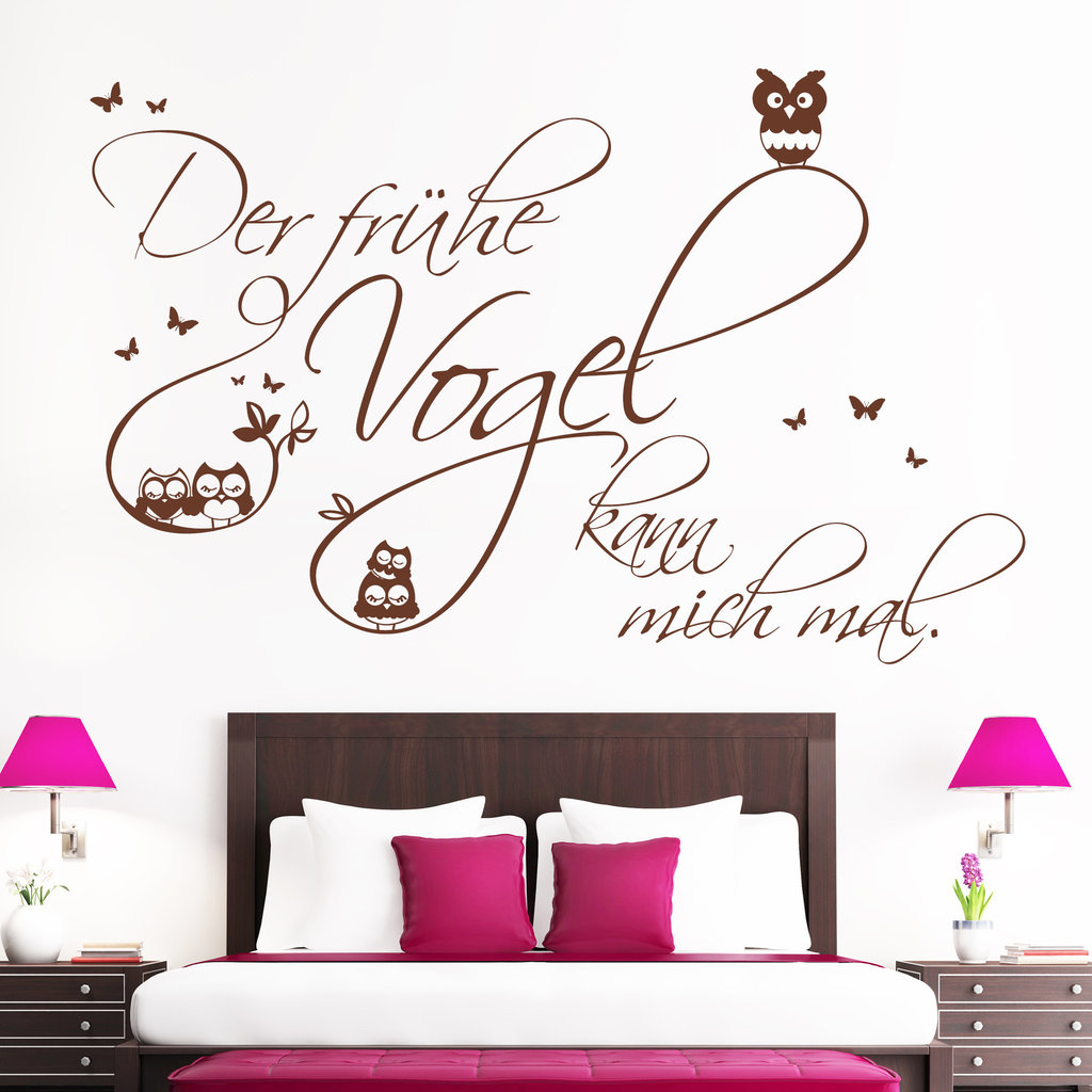 wandtattoo der fr he vogel kann mich mal mit eulen g nstig. Black Bedroom Furniture Sets. Home Design Ideas